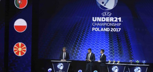 PZPN president Zbigniew Boniek (L) with MC's Filip Adamus (R) and Mateusz Borek during the UEFA European Under-21 Championship Final Tournament Draw